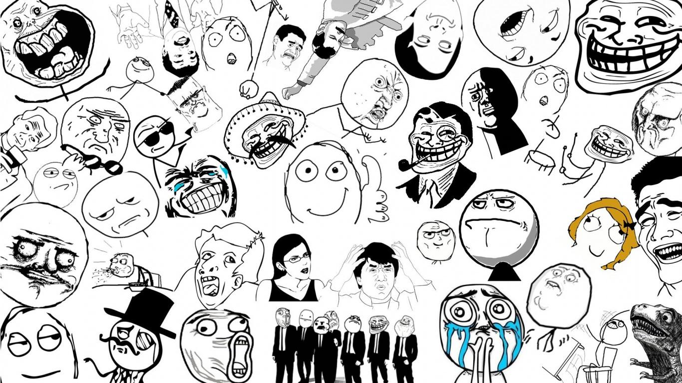 Download Troll Face Wallpaper in 1366x768 Resolution