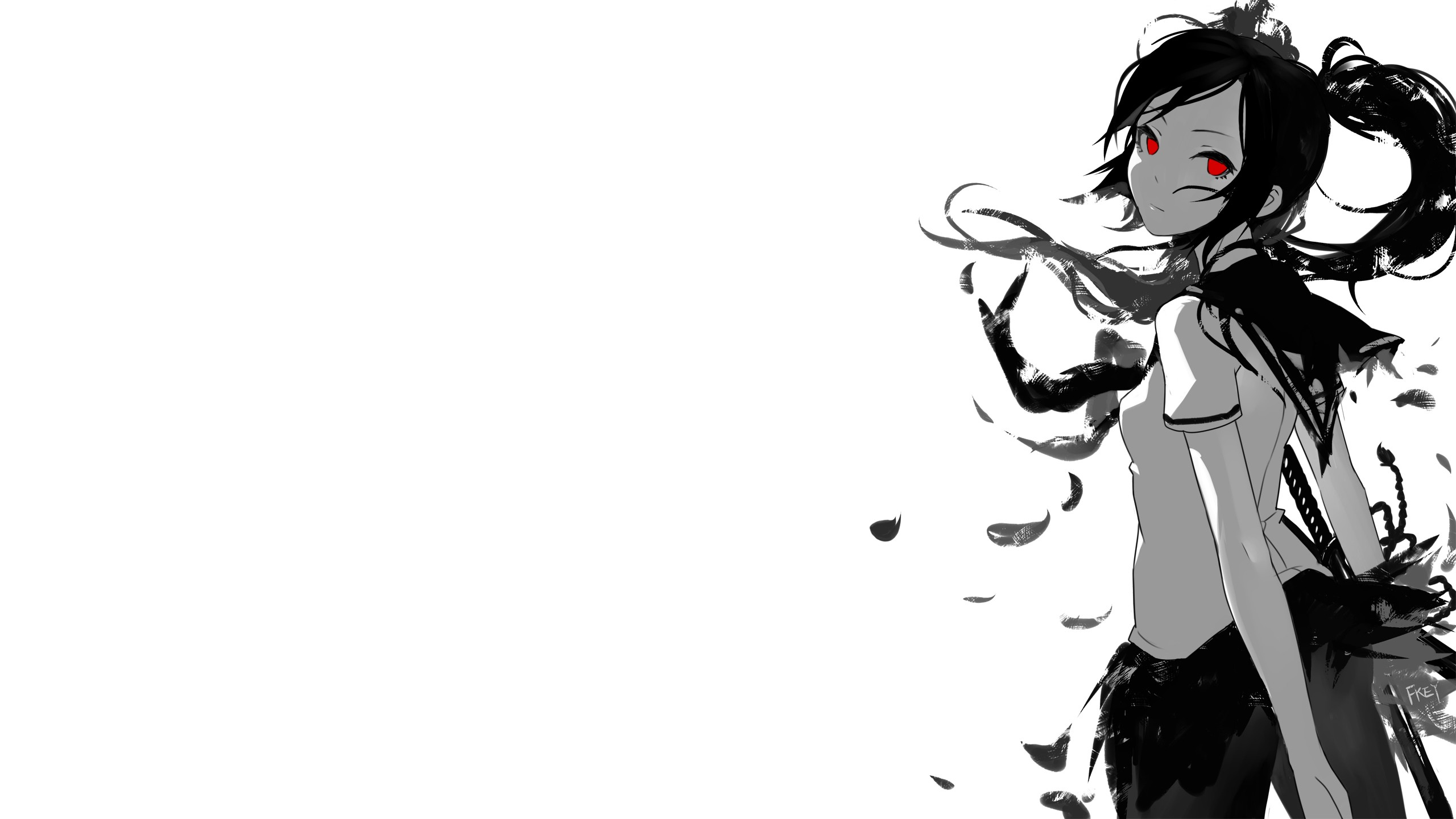 Anime Girls Black And White Fkey Grayscale Katana Lon