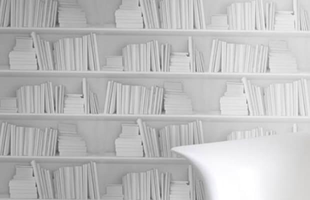 White Bookshelf Wallpaper Complex