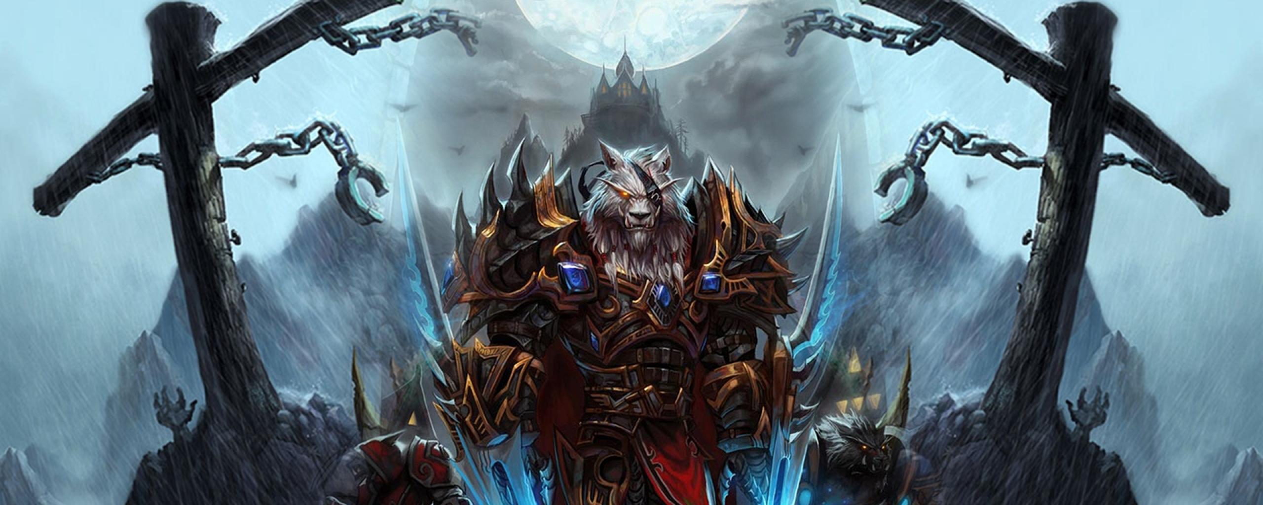 Download Wallpaper 2560x1024 World of warcraft, Worgen, Character