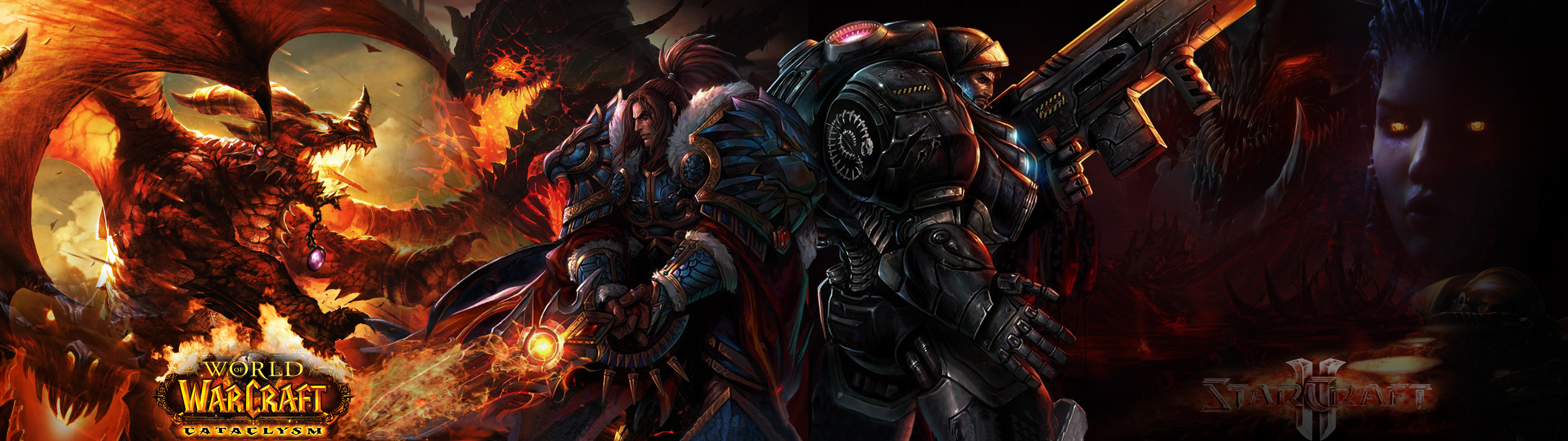 DeviantArt: More Like WoW and SC2 Dual Screen Wallpaper by CHIPINATORs