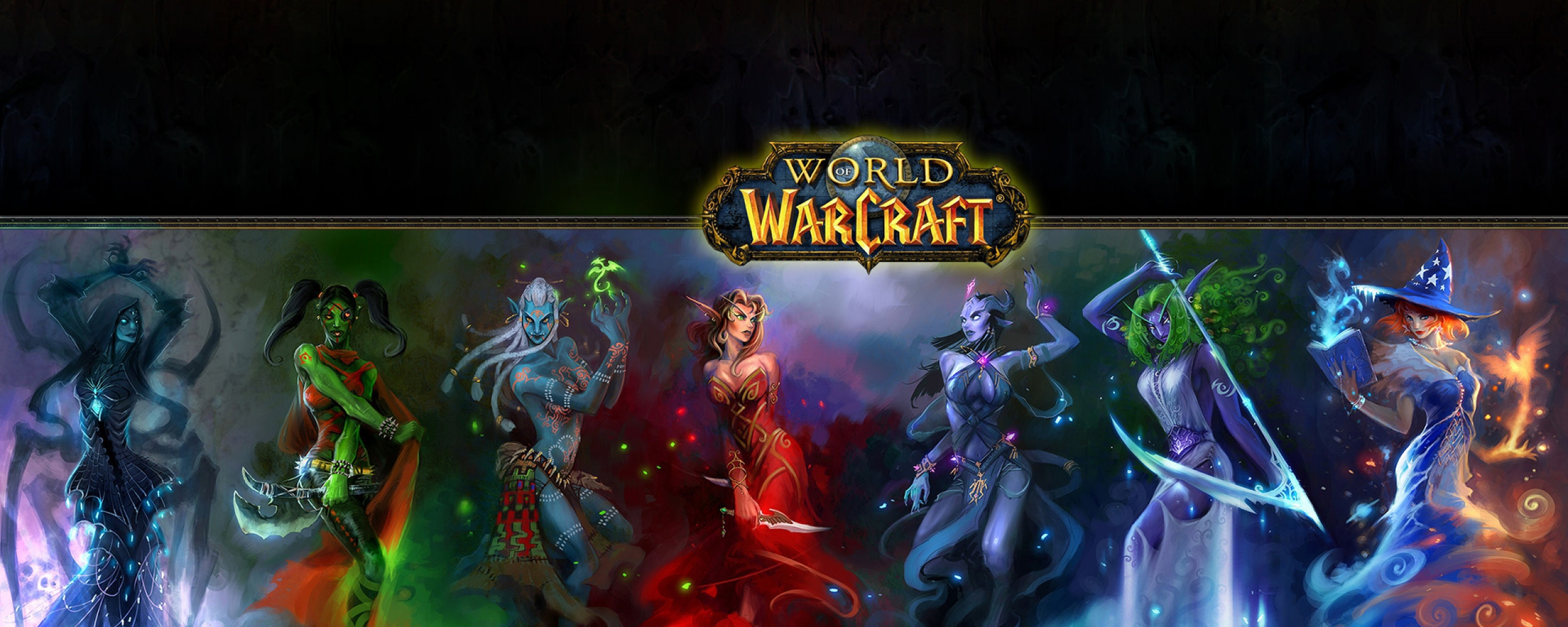 Download Wallpaper 2560x1024 World of warcraft, Characters, Faces