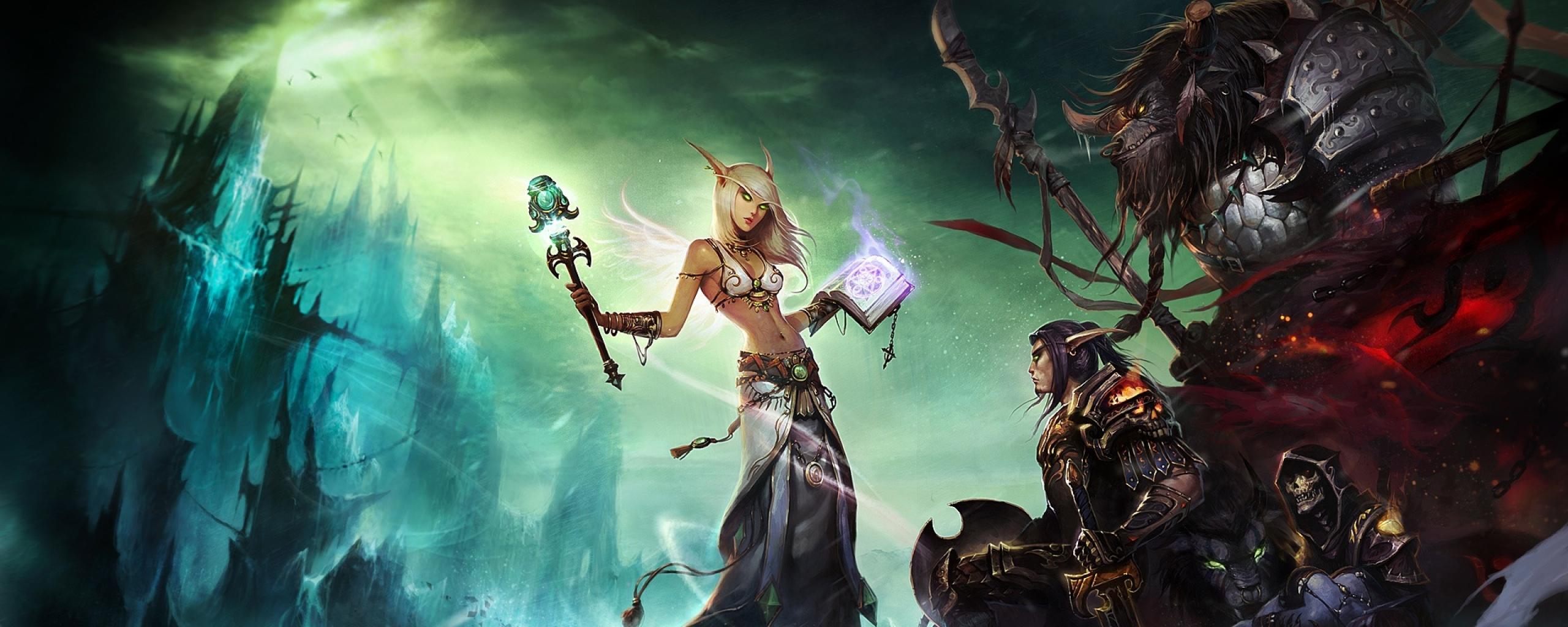 Download Wallpaper 2560x1024 World of warcraft, Female, Sky