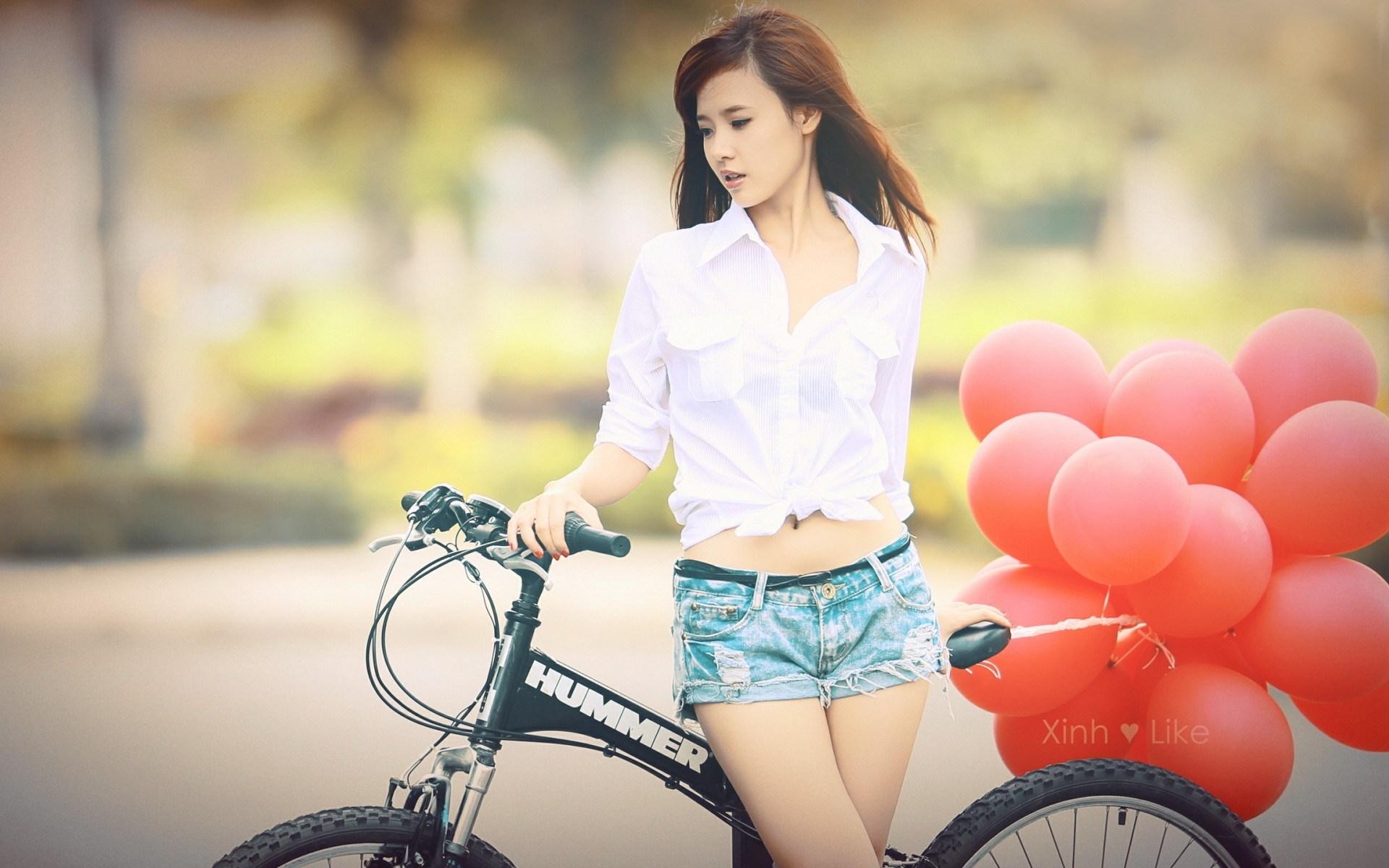 asian girl, bike, red balloons, beauty girl, photo vintage, wallpaper