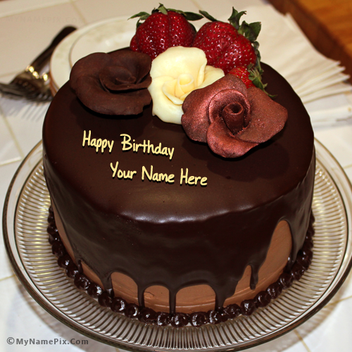 Birthday Cake With Rose With Name