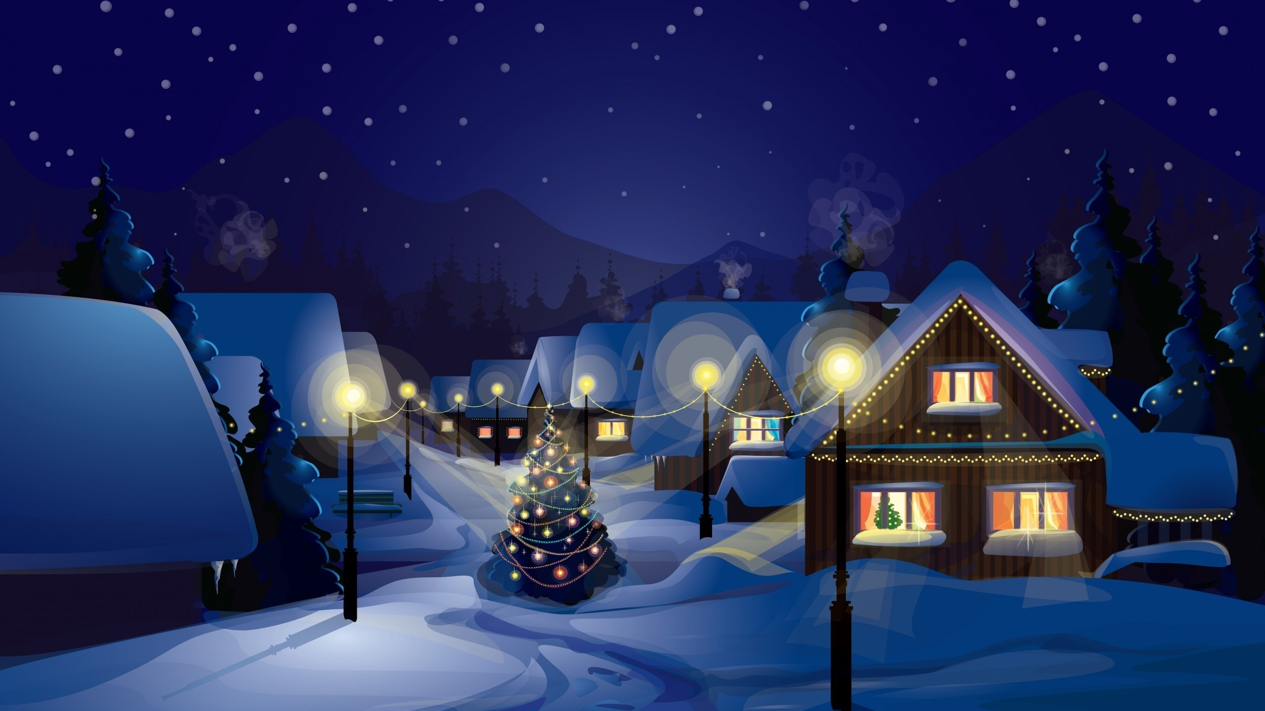 Christmas, Village, Christmas Tree, Snow Wallpapers HD / Desktop