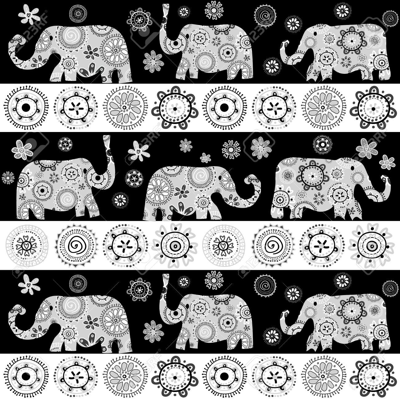 Ethnic Floral Patterned Elephants Background Royalty Free Cliparts