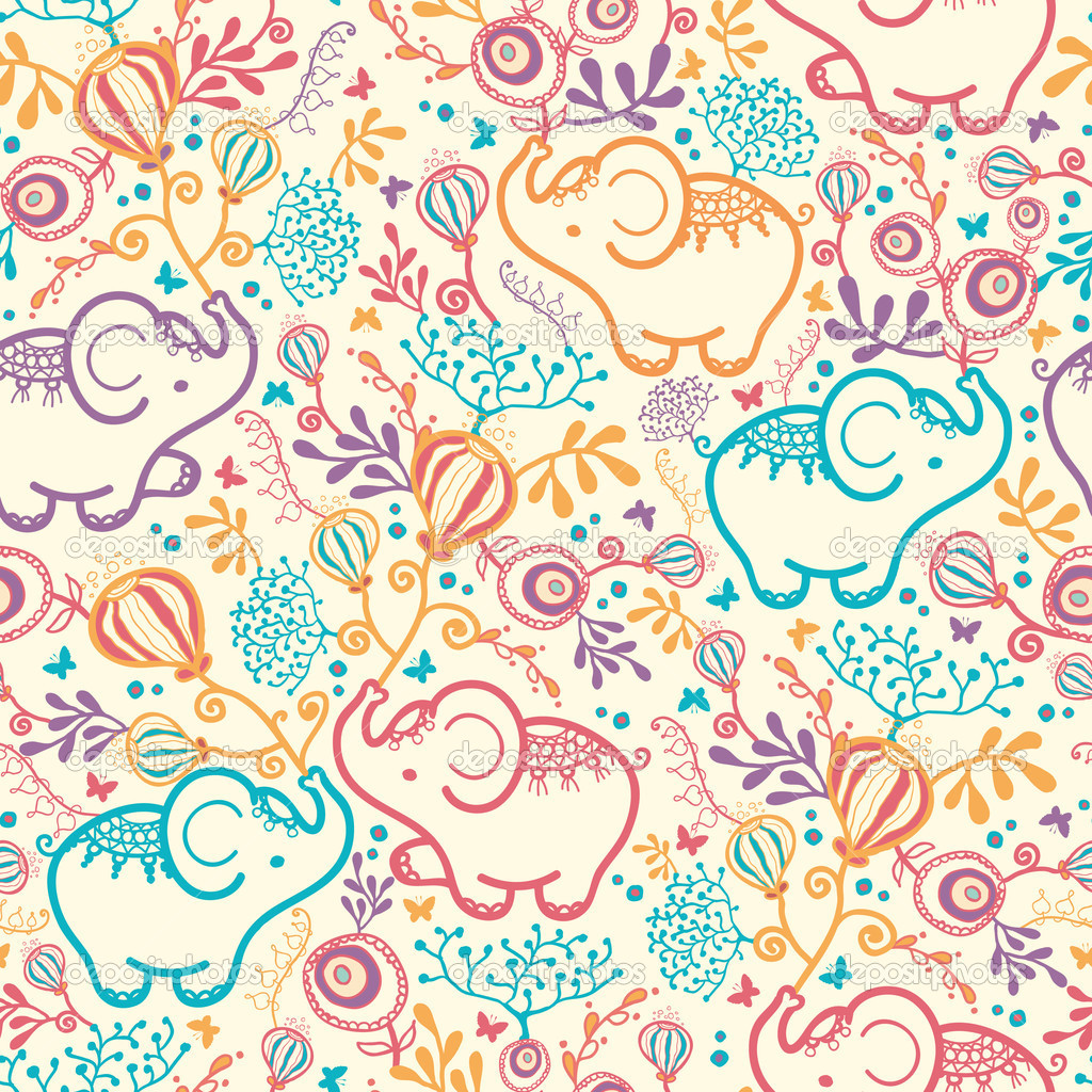 Elephants With Flowers Seamless Pattern Background — Stock Vector