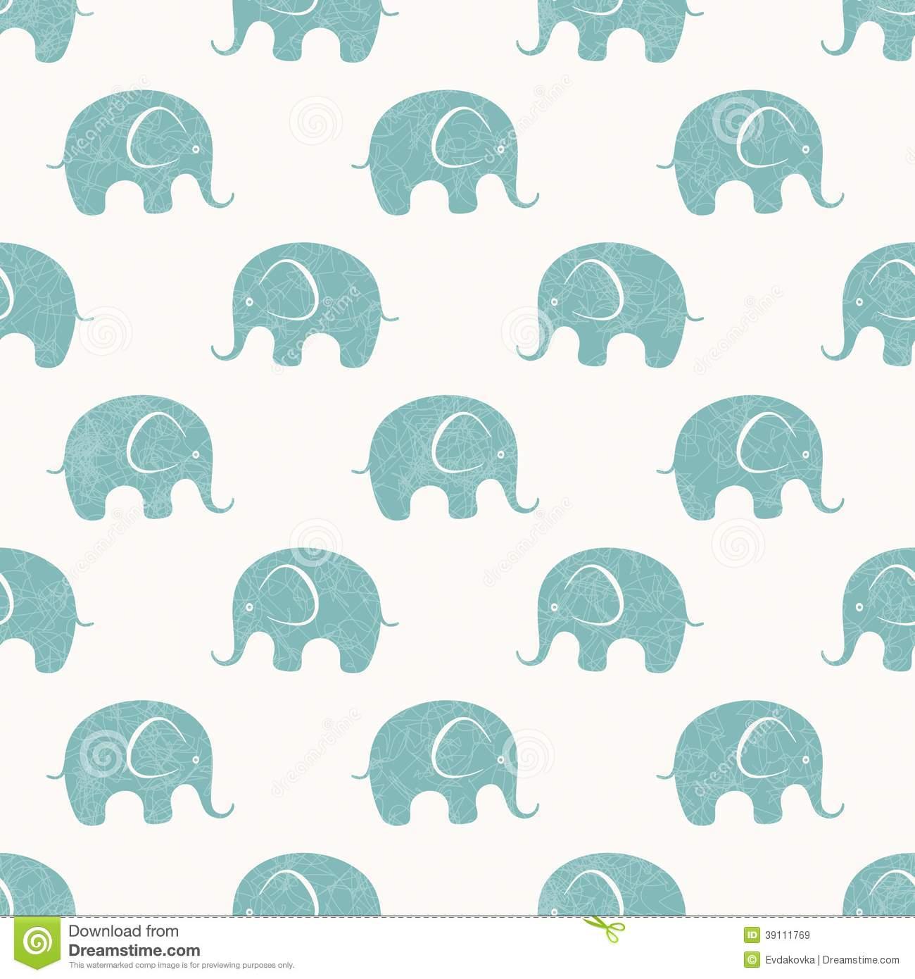 Seamless Vector Print With Cute Little Elephants Stock Vector