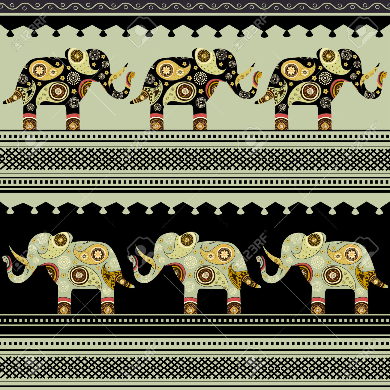 Oriental Pattern With Elephants On Black And Green Background