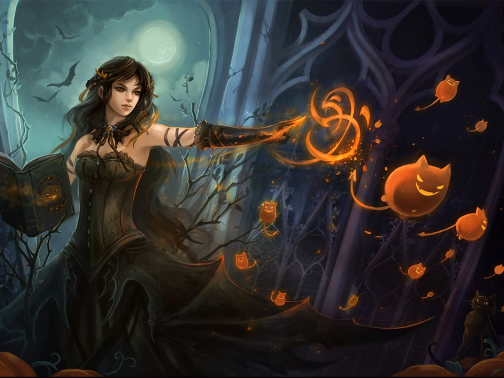 My Free Wallpapers Fantasy Wallpaper Halloween Witch | Screen