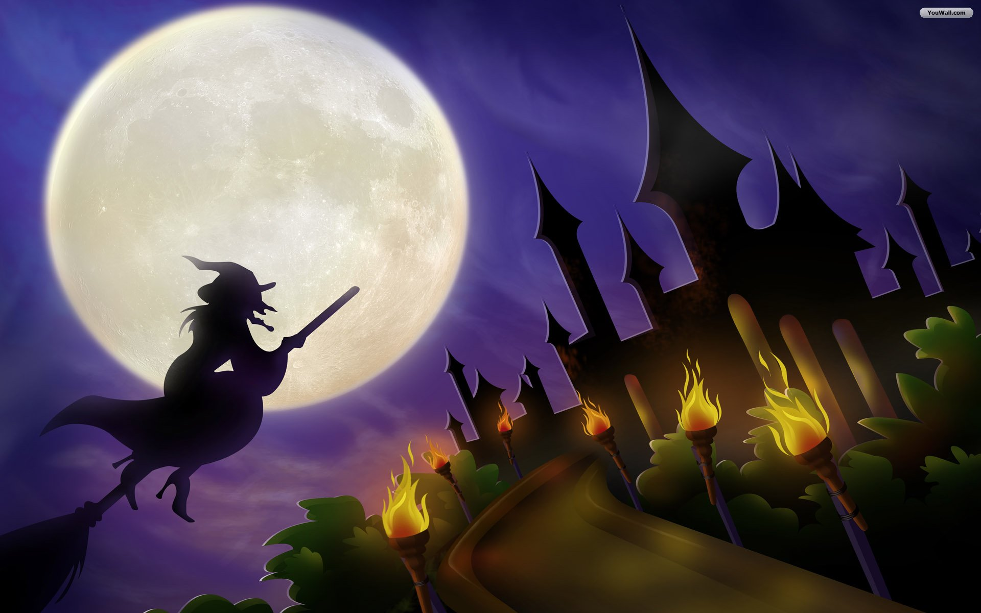 YouWall - Halloween Flying Witch Wallpaper - wallpaper,wallpapers