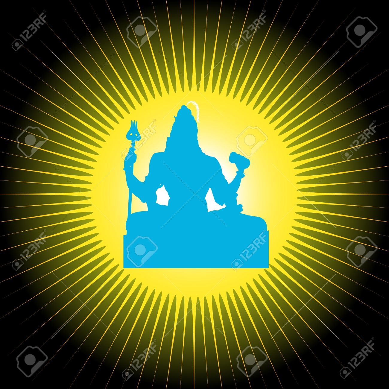 Indian God Shiva With Sun In Background Stock Photo, Picture And