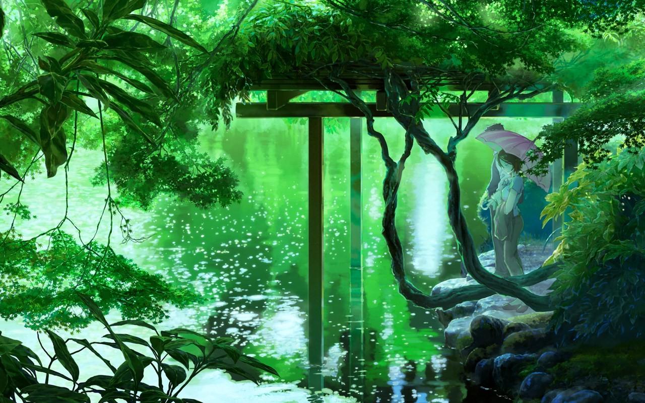 anime, Lake, Trees, Umbrella, Green Wallpapers HD / Desktop and