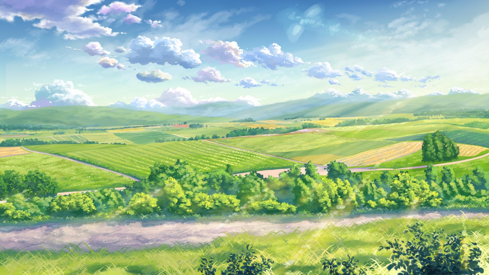 Green Anime Landscape HD Wallpaper | 1920x1080 | ID:55875