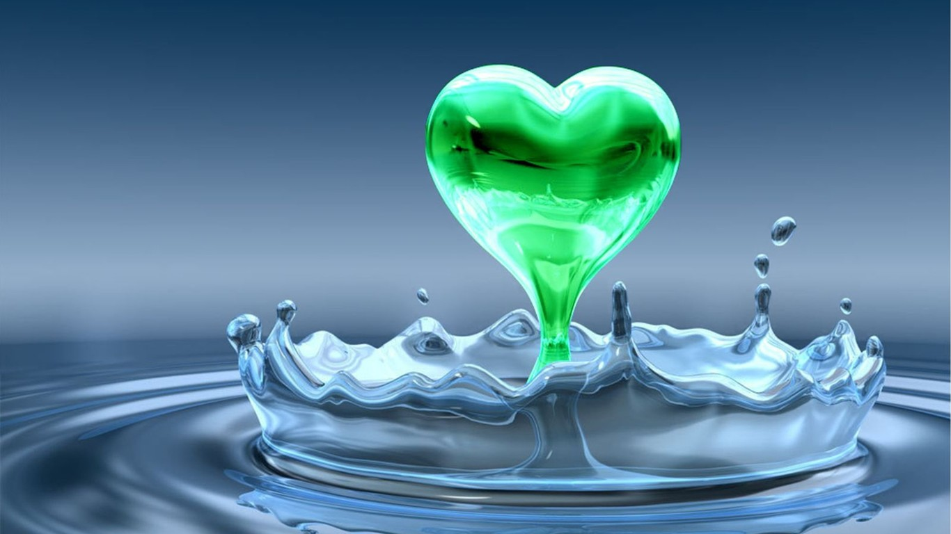Abstract HD wallpaper - a green heart coming out from water