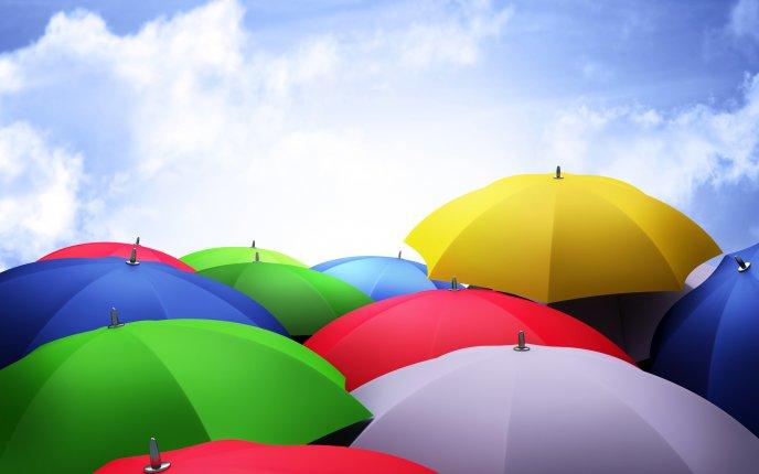Colourful umbrellas in the sky - HD wallpaper