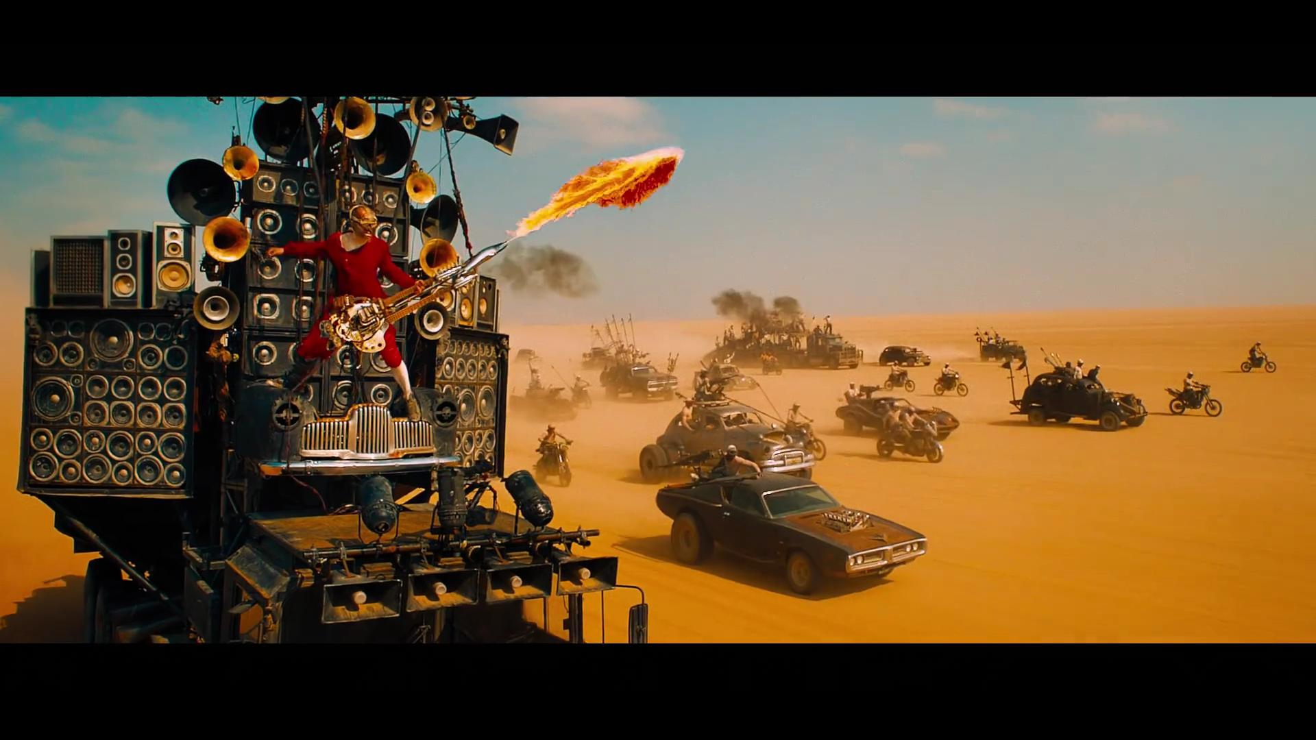 The flame-throwing guitar guy from Mad Max, 1080p screengrab from