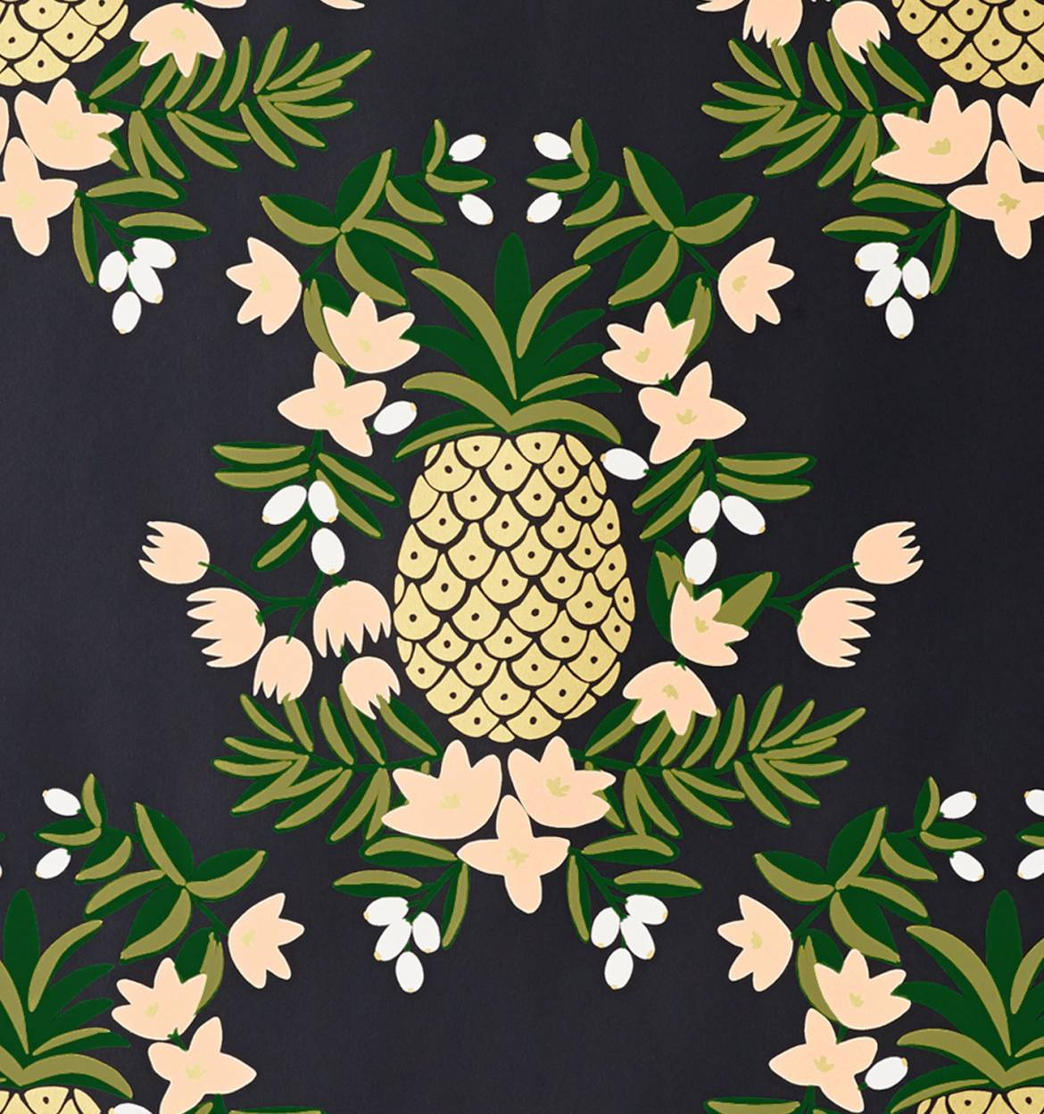 Pineapple (Ebony) Wallpaper by RIFLE PAPER Co  | Made in USA
