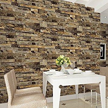 HaokHome 91302 Modern Faux Brick Stone Textured Wallpaper Roll
