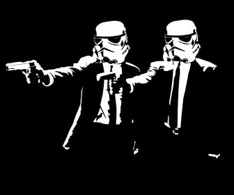 stormtroopers pulp fiction parody black background HD Wallpaper