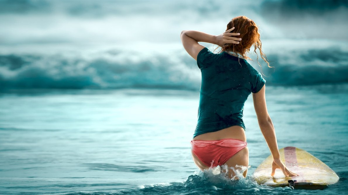 Surfing Girl HD Wallpaper - HD Wallpapers Backgrounds of Your Choice